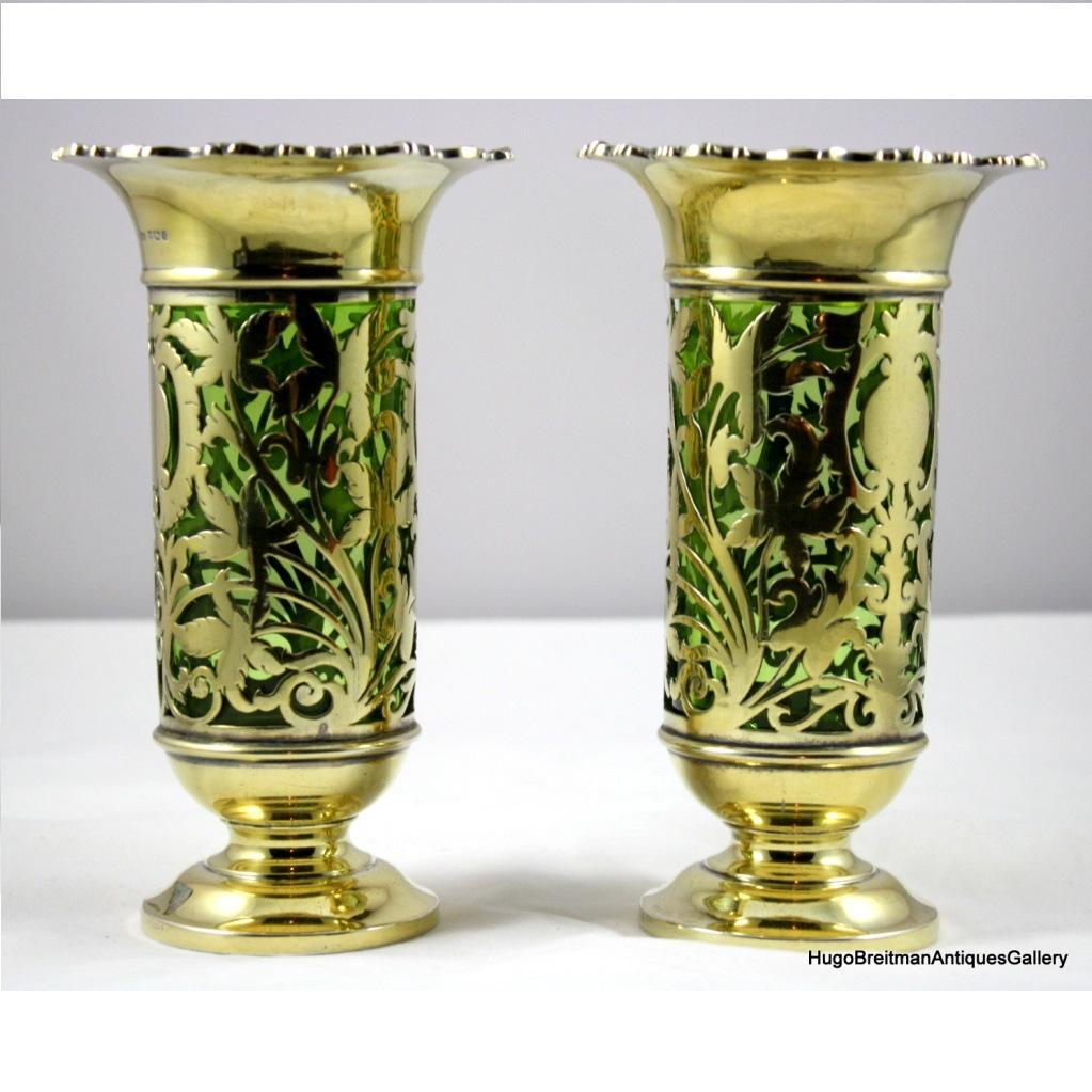 Pair of English Vermeil Silver Vases JD&S