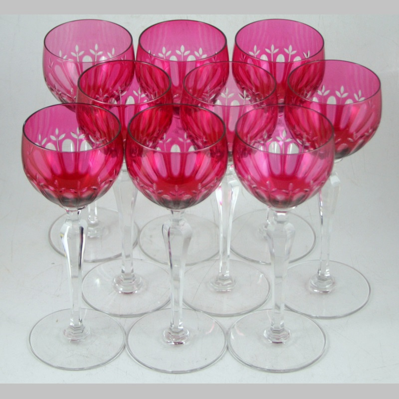 French Red Crystal Set of Nine Goblets (9 p.)