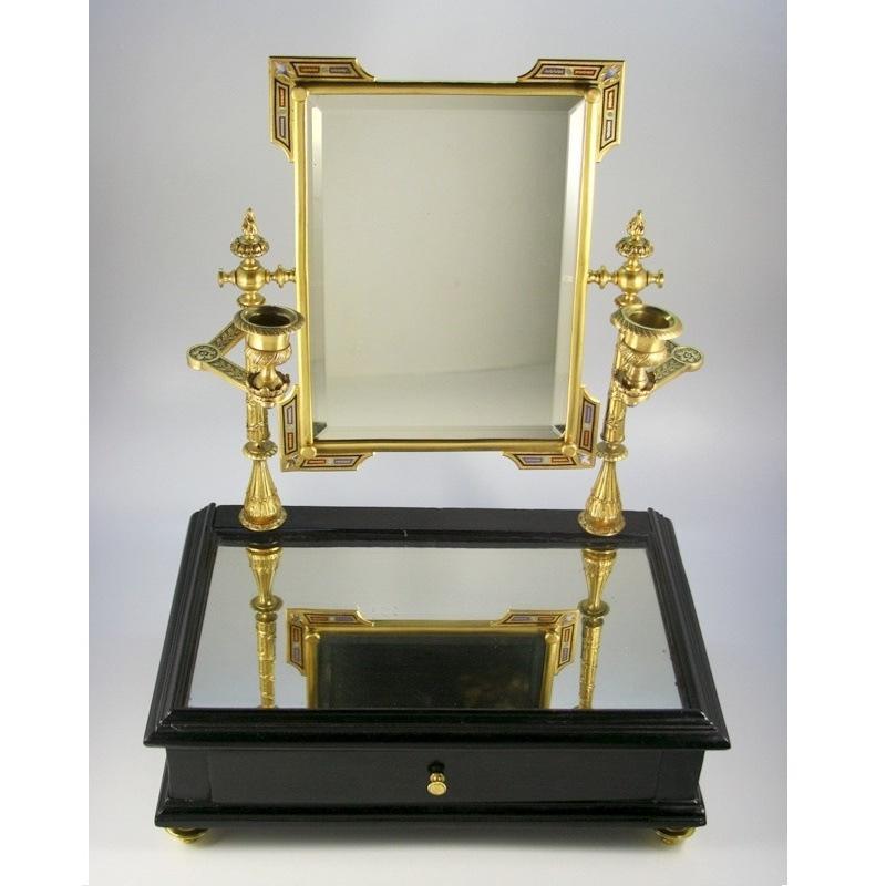Gilt Bronze Champlevé Enamel Toilette Mirror