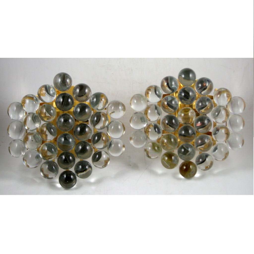 FONTANA ART-STYLE PAIR OF GLASS AND BRONZE SCONCES