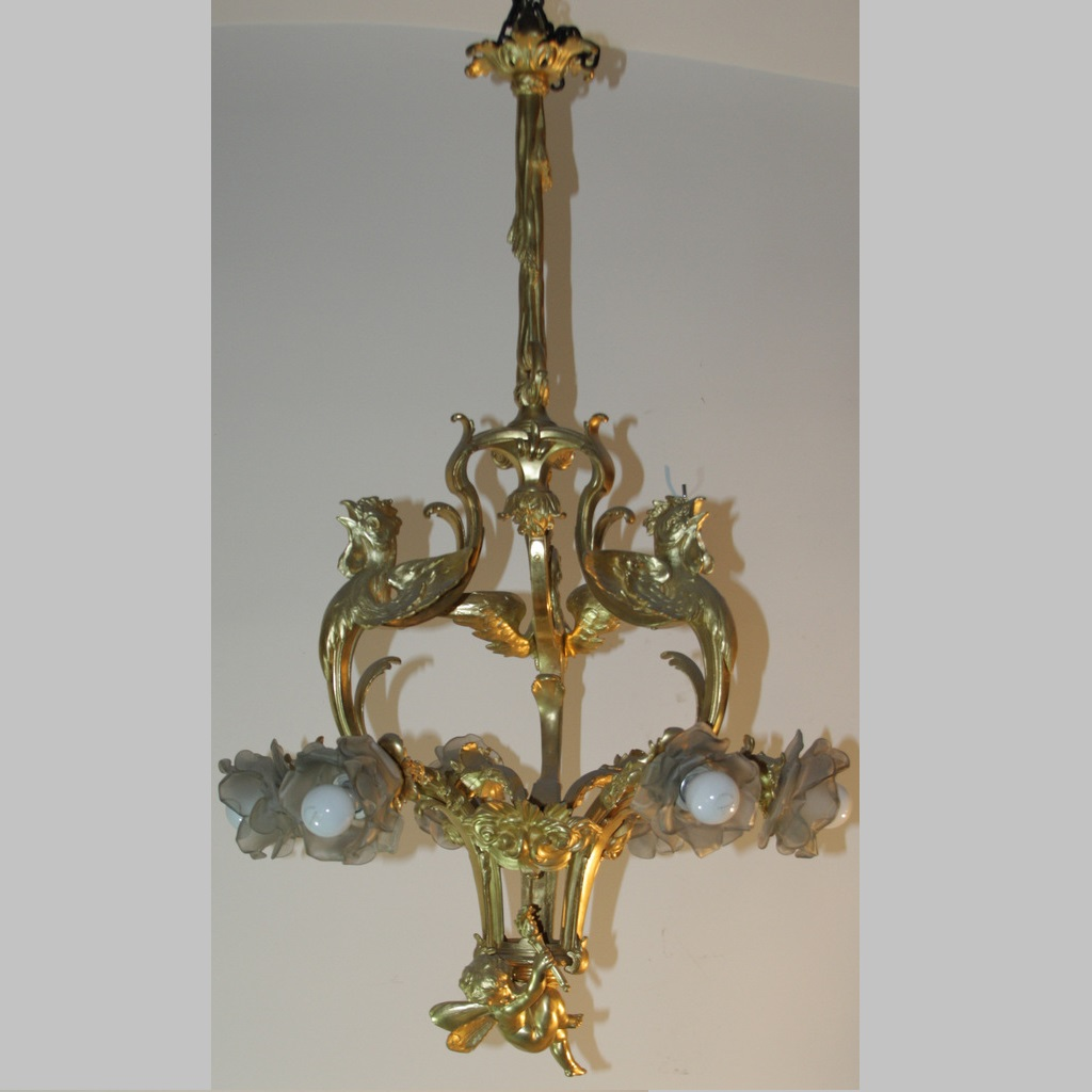 BRONZE SIX LIGHTS CHANDELIER WITH BIG CHERUB