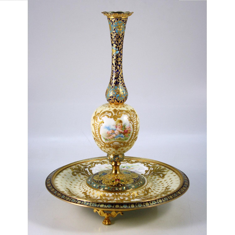 Champleve Enamel Porcelain Vase