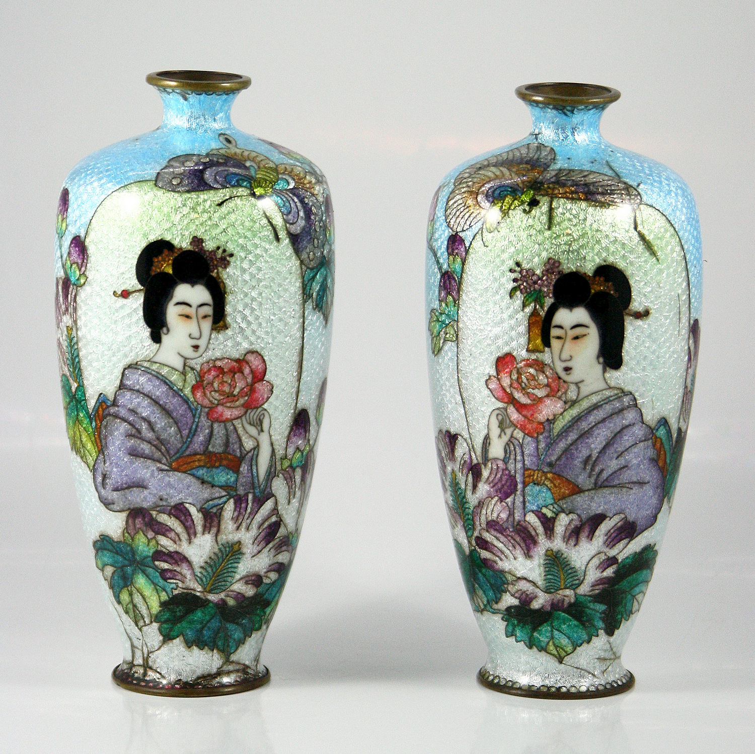 Pair of Japanese Cloisonne Enameled Vases