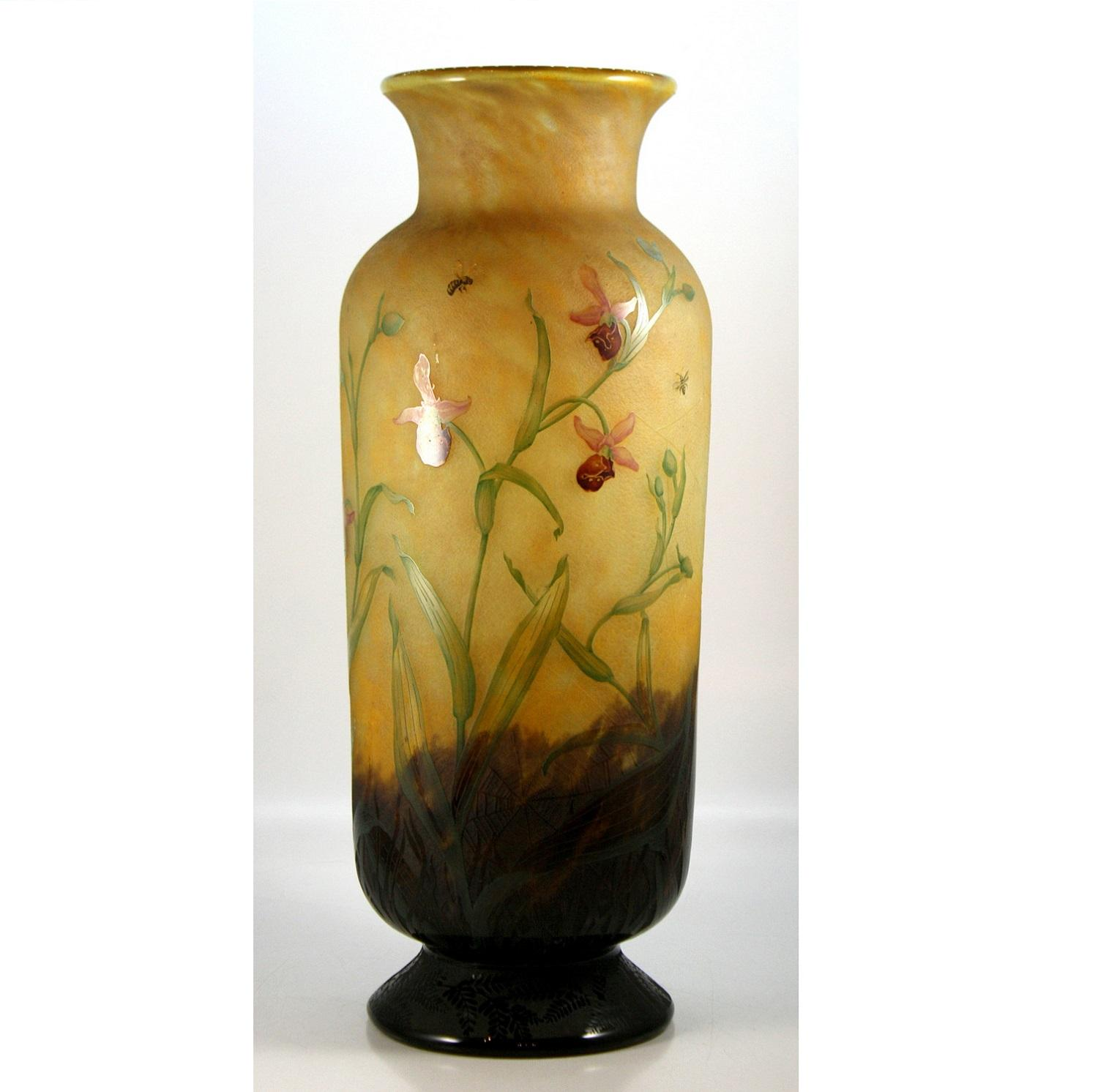 Daum Nancy Orchid Cameo Glass Vase