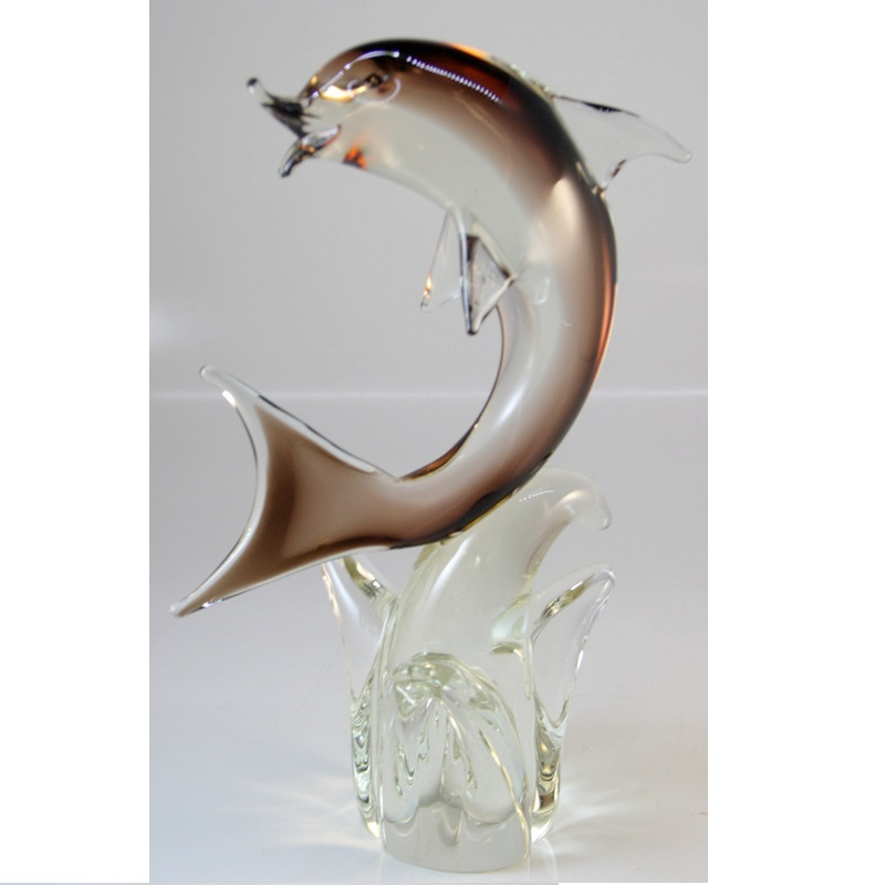 Murano Vase Depicting a Dolphin On A Base