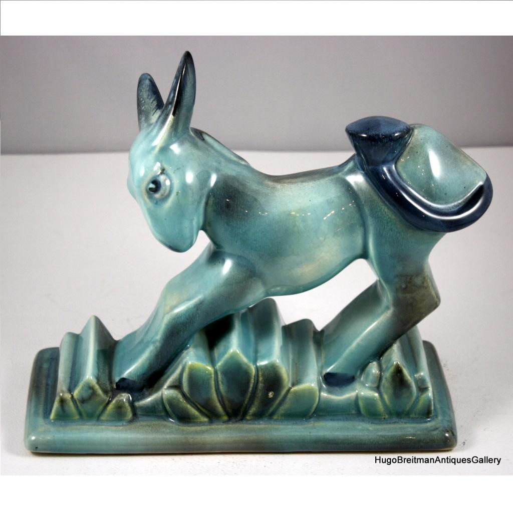 Art Deco Pottery Donkey Figure