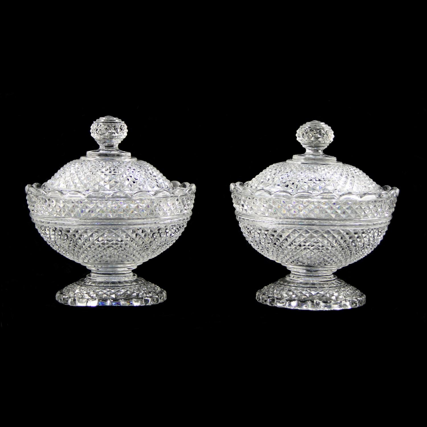 Pair of Baccarat Crystal Bonbonnières