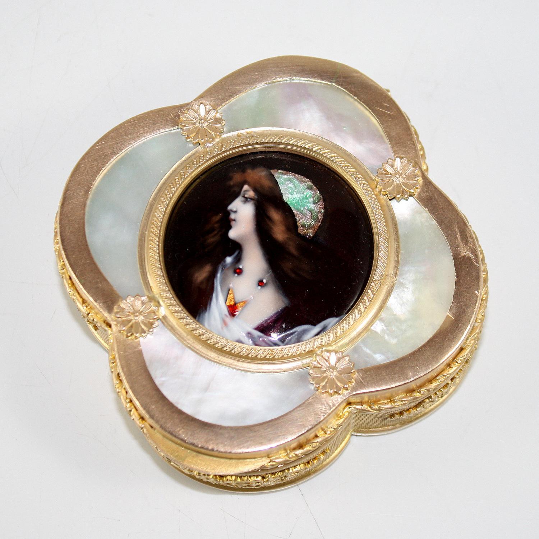 Enamel Miniaure Jewelry Box