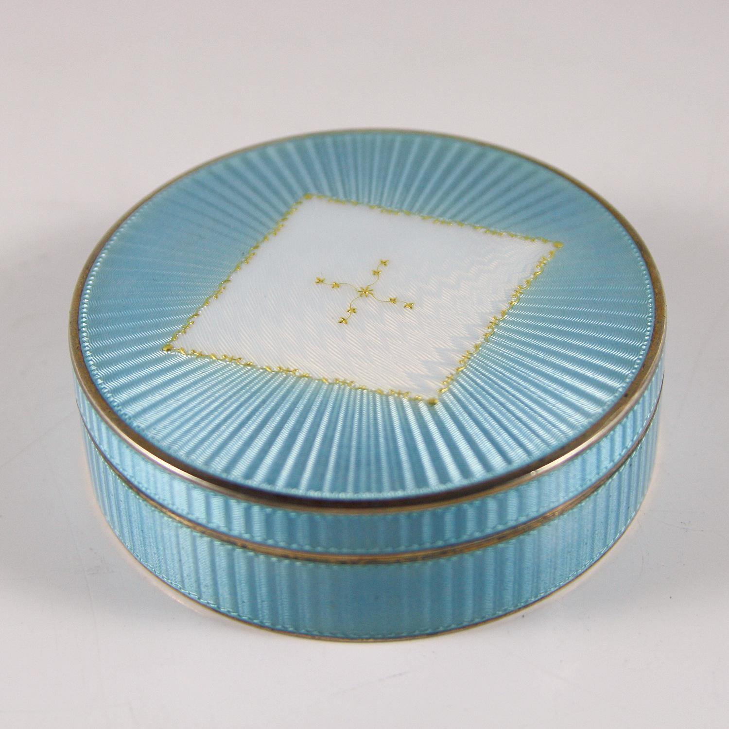 Sterling Silver Guilloche Enamel Box