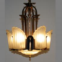 ART-DECO FIVE LIGHTS BRONZE FIXTURE
