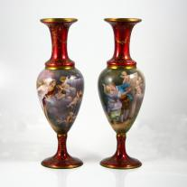 Pair of  Limoges Enamel Vases