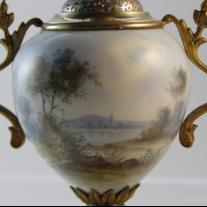 Sevres-Style Pair of Porcelain Vases with Champleve Enamel