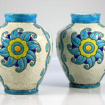 Pair of  Art Deco Charles Catteau - Boch Freres Ceramic Vases