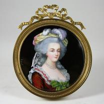 "Marie Antoinette Enamel Plaque Signed ""Gamet"""
