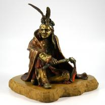 Carl Kauba Polychromed Bronze Indian Figure