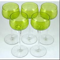 French Cut Crystal Set of Five Goblets