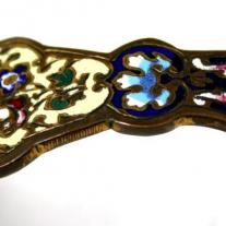 French Champleve Enamel Porcelain and Bronze Candlestick