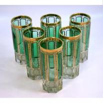 Set of Six Moser Emerald  Green Cabouchon Glasses