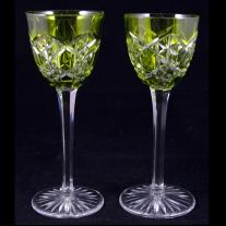 Bccarat Pair of Green French Cut Crystal Goblets