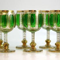 Set of Six Moser Emerald Green Cabouchon Goblets