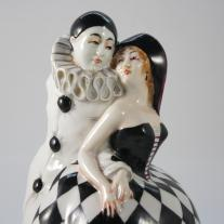 "Art Deco ""Pierrot and Columbine"" Ceramic Box"