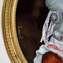 "Marie Antoinette Enamel Plaque Signed ""Gamet"""