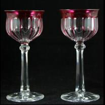 French Cut Crystal Pair of Goblets