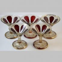 Moser Set of Five Dark Red Cabouchon Champagne Goblets