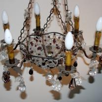 IRON AND CRYSTAL SIX LIGHTS CHANDELIER