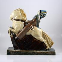 Indian Riding Horse Pottery Figure
