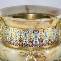 Onix and Champleve Enamel Cache-Pot