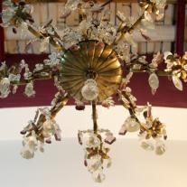 BRONZE AND CRYSTAL EIGHT LIGHTS CHANDELIER