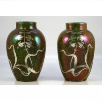 Pair of Iridescent Vases