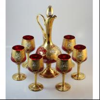 Venetian Glass Liqueur Set of Bottle with Stopper and Six Goblets