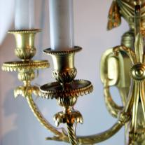 LOUIS XVI-STYLE PAIR OF GILT BRONZE SCONCES