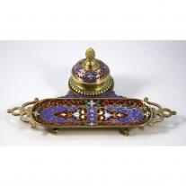 Bronze and Champlevé Enamel Inkwell