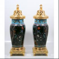 "Pair of Gilt Bronze Mounted Cloissoné Enamel Urns Signed ""F. Barbedienne"""