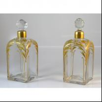 Pair of French Gilded Crystal Perfume Bottles
