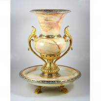 Champleve Enamel and Onix Center Piece